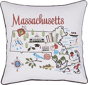 "EURASIA DECOR DecorHouzz Pillow Covers Massachusetts Pillowcase Embroidered Cushion Cover Birthday Gift Graduation Gift New Home Gift 18""x18"" (Massachusetts)"