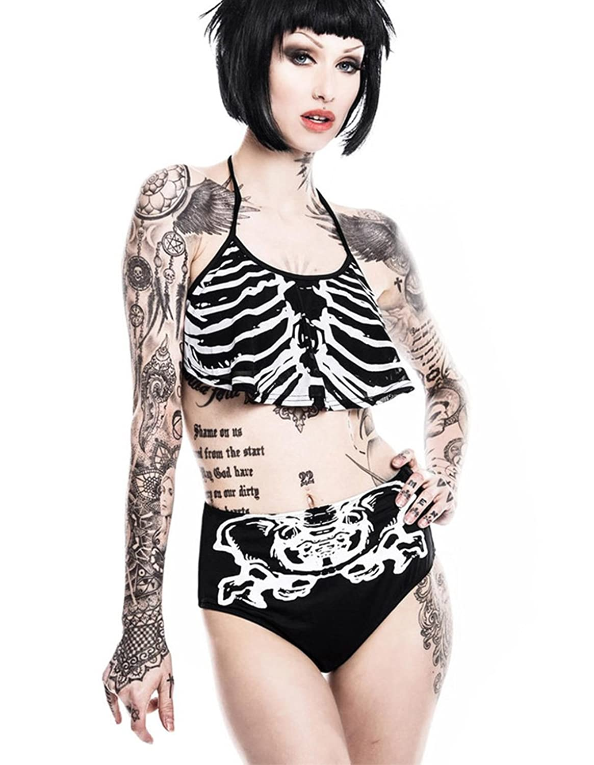 Killstar Damen Gothic Neckholder Bikini Set Skelett - Bad Bones