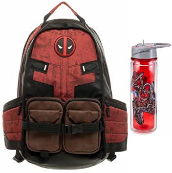 9a4423dfc545 Marvel Deadpool Laptop Backpack and 18oz Water Bottle Back to School Bundle
