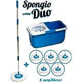 Balai serpillère 360° 6 lingettes - 2 bacs séparés - Turbo Mop Spongio Nouvelle Génération