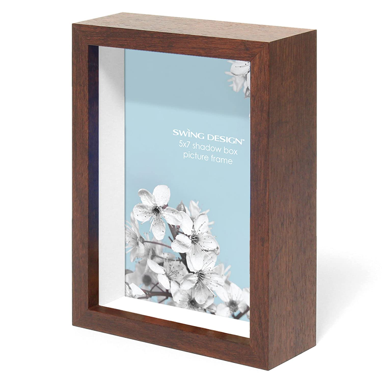 Swing Design Chroma Shadow Box Frame, 5 by 7-Inch, Walnut 1012-57