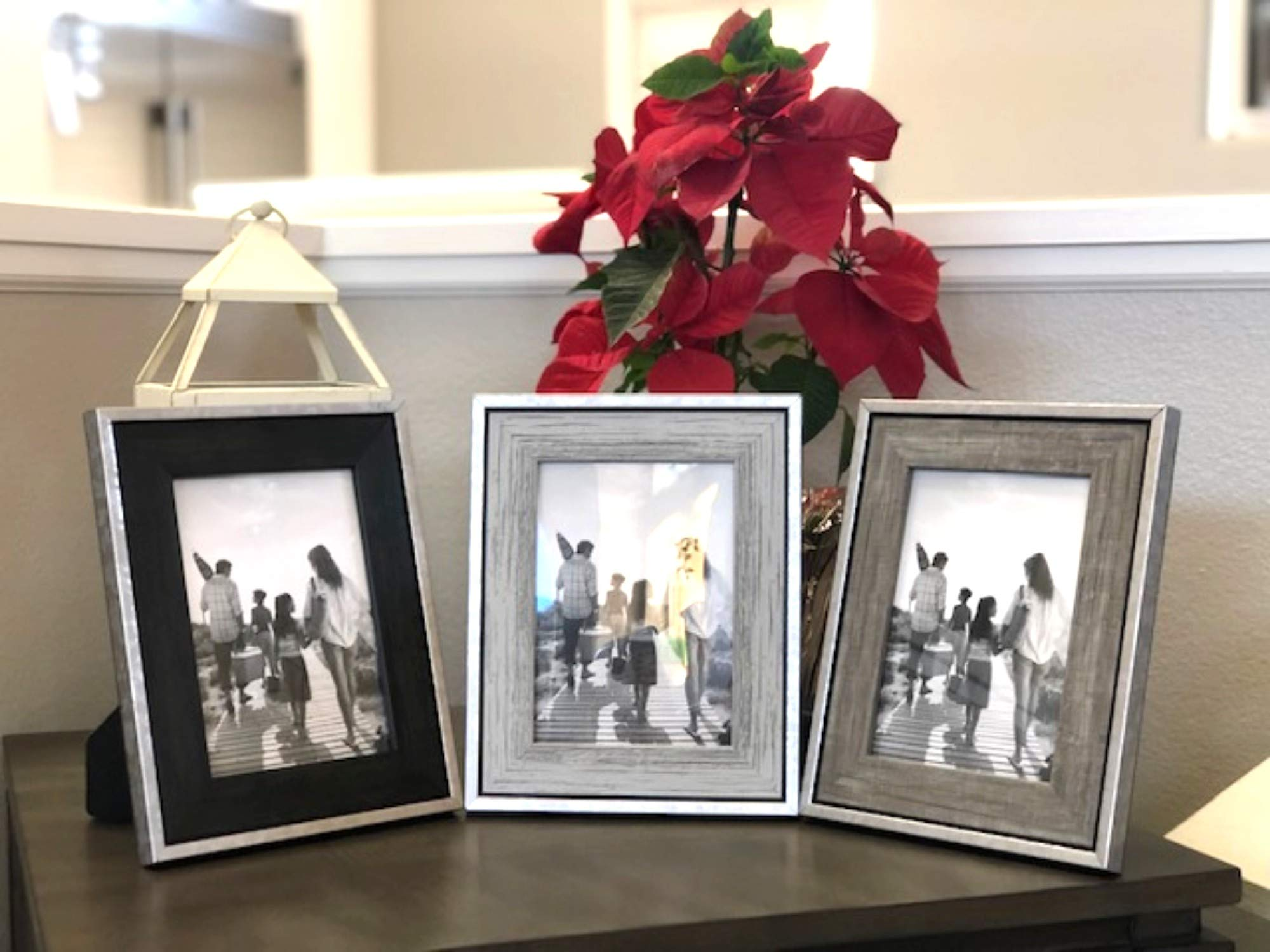 Tasse Verre 5x7 Rustic Frames (3-Pack) - Distressed Farmhouse Industrial Frame - Ready to Hang or Stand - Built-in Easel - Silver Galvanized Metal Look with Wood Insert by Tasse Verre (Image #5)
