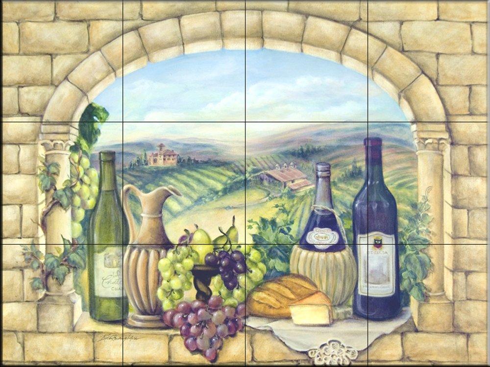 Ceramic Tile Mural - Tuscan Wine - by Rita Broughton - Kitchen backsplash / Bathroom shower