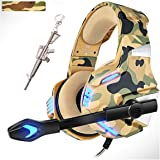 Camo Gaming Headsets with 360°MIC,Gaming Headphones for Xbox One PS4 PC,Pro 50mm Driver Stereo Surround Sound &LED Light for