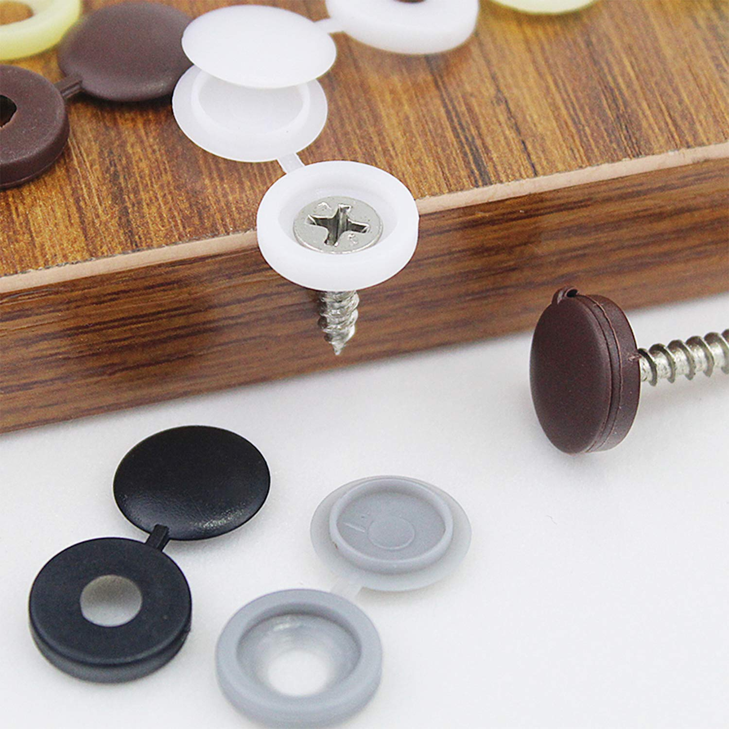 50Pcs Hinged Plastic Screw Cover Fold Caps Button For Furniture Decorative New