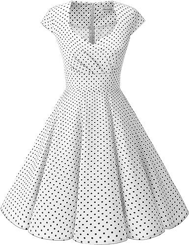 TALLA XS. Bbonlinedress Vestido Corto Mujer Retro Años 50 Vintage Escote White Small Black Dot XS