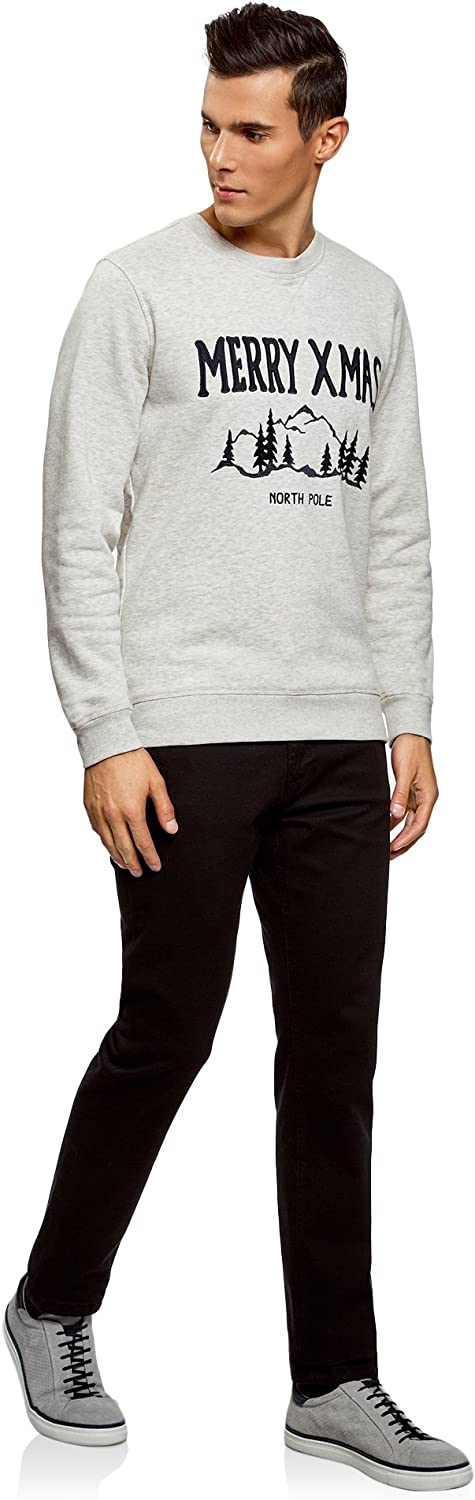 oodji Ultra Homme Pull Coupe Droite avec Broderie