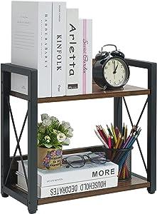 Giikin Vintage Desktop Storage Organizer Shelves, Wood Desk Organizer Stand Countertop Bookshelf for Office Supplies , Freestanding Display Rack for Desktop, Tabletop or Counter (Antique Brown)