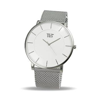 Davis 0911MB - Reloj Diseño Hombre Mujer Blanco Cuadrante Extra plano Correa Acero Mesh Malla Milanese: Davis: Amazon.es: Relojes