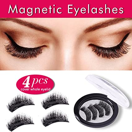 0505ba22ac7 Premium False Magnetic Eyelashes 4 Pieces Fake Eyelashes 3D Reusable 0.2mm Ultra  Thin Magnetic Eyelashes
