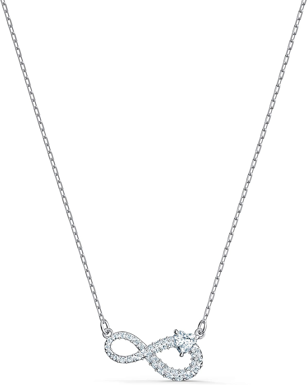 Swarovski Collar Infinity, Blanco, baño de rodio