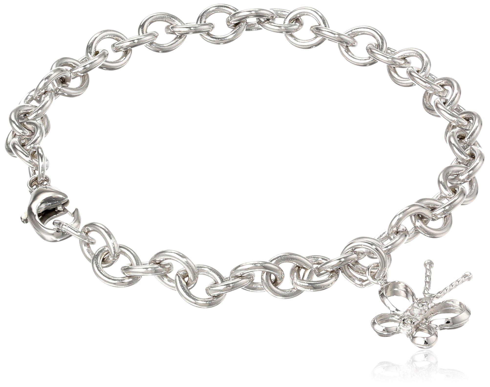 Sterling Silver Pre-Teen Three-Diamond Butterfly Charm Bracelet, 6.75''