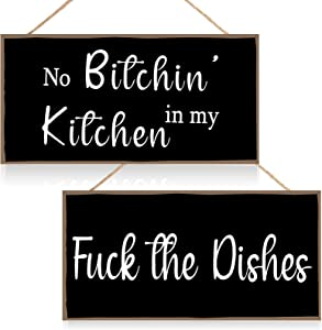 Jetec 2 Pieces Funny Kitchen Signs the Dishes Hanging Wall Art Sign No Bitchin in My Kitchen Rustic Wooden Wall Signs Decorative Wood Sign Home Kitchen Decor, 10 x 5 Inch