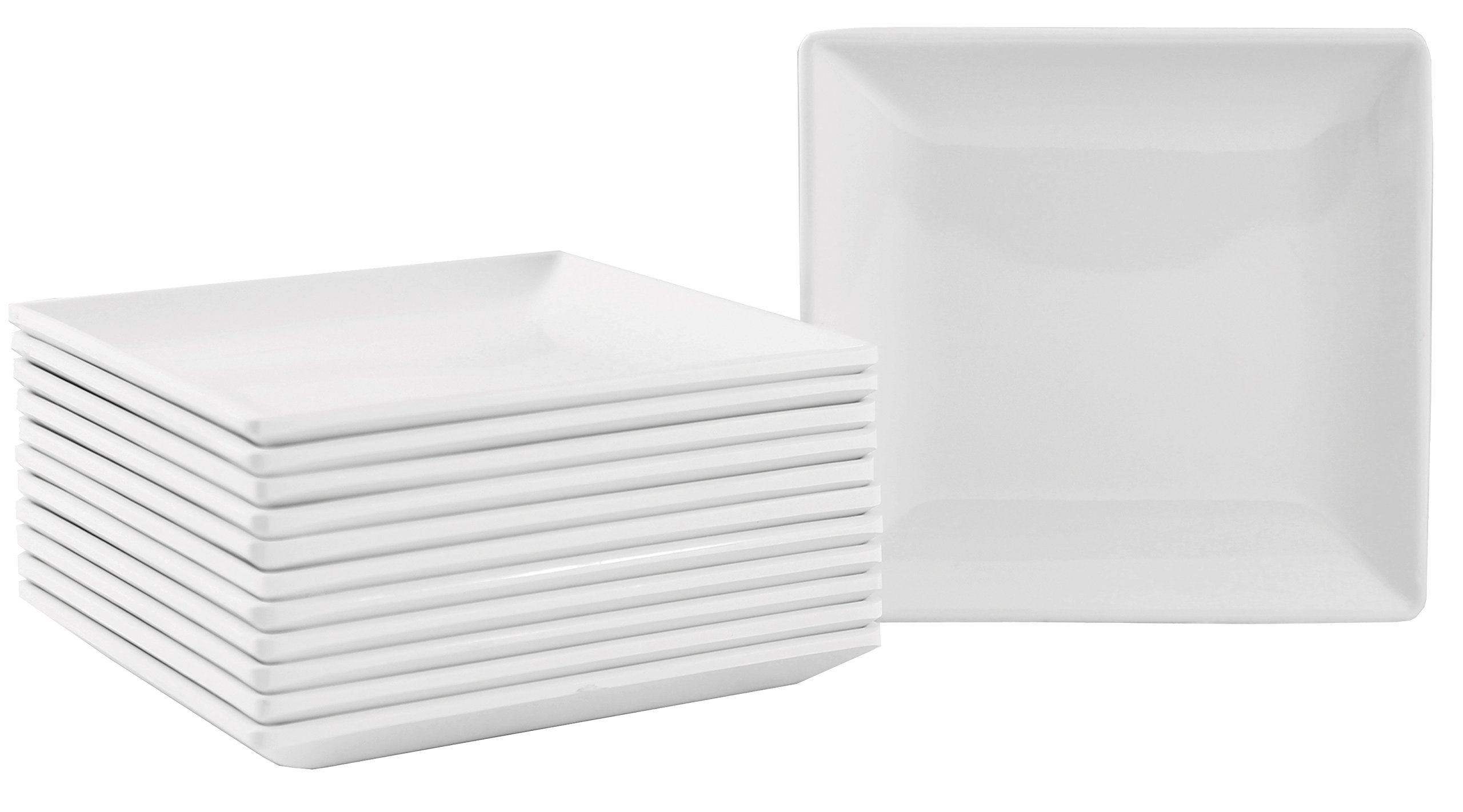 Square Melamine Appetizer Plates with Flared Edges and Pan Scraper, 4.25 inches, Set of 12, White