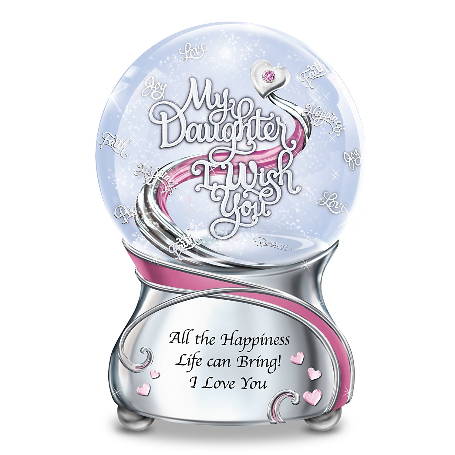 My Daughter, I Wish You Musical Glitter Snowglobe With Heart Charm And Swarovski Crystal by The Bradford Exchange