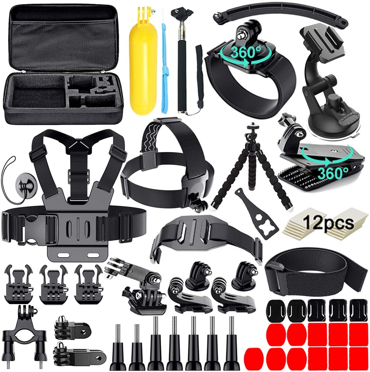 Navitech 9 in 1 Action Camera Accessory Combo Kit and Rugged Grey Storage Case Compatible with The Kitvision Splash Action Camera