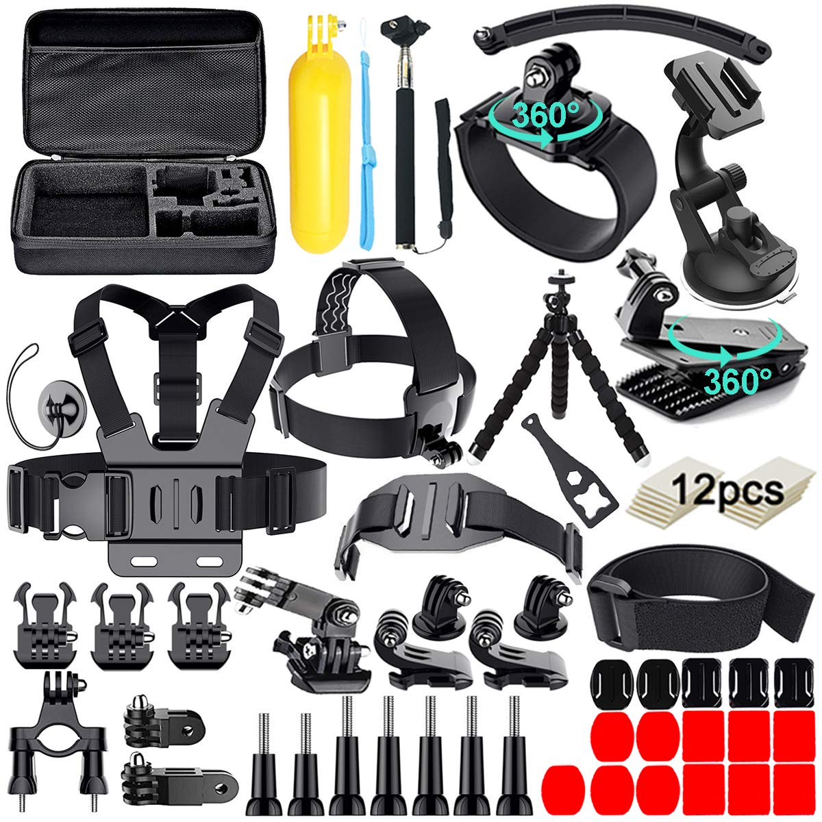 61 in 1 Action Camera Accessories Kit for GoPro Hero7 6 5 4 3 Hero Session 5 Black SJ4000 5000 6000 Xiaomi Yi AKASO Campark Action Camera by Appolab