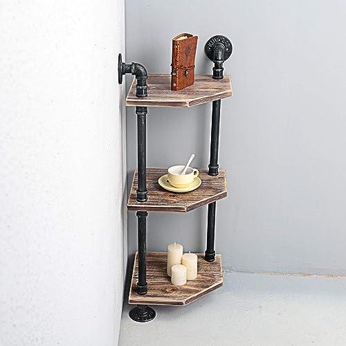 Weven 3-Tier Industrial Pipe Corner Shelves Modern Rustic Book Shelves with Real Wood,Corner Bookshelf Display Stand,Metal Standing Home Decor Shelf Units