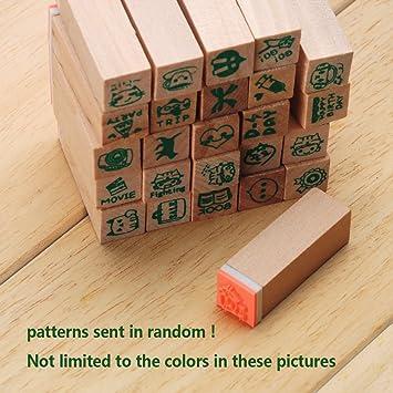 Plantilla de plástico para dibujo, 25 unidades de sellos coreanos de madera, con caja