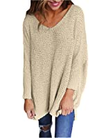 Feiyoung Women's Long Sleeve Knitted Sweater Top Jumper Pullovers