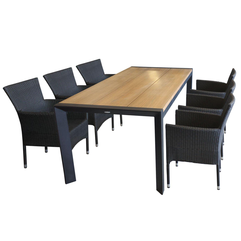 Edle Sitzgarnitur Gartenmöbel-Set Aluminium Gartentisch mit eleganter Polywoodtischplatte in Teakfarben 205x90cm + 6x Rattansessel, Polyrattan Schwarz, stapelbar