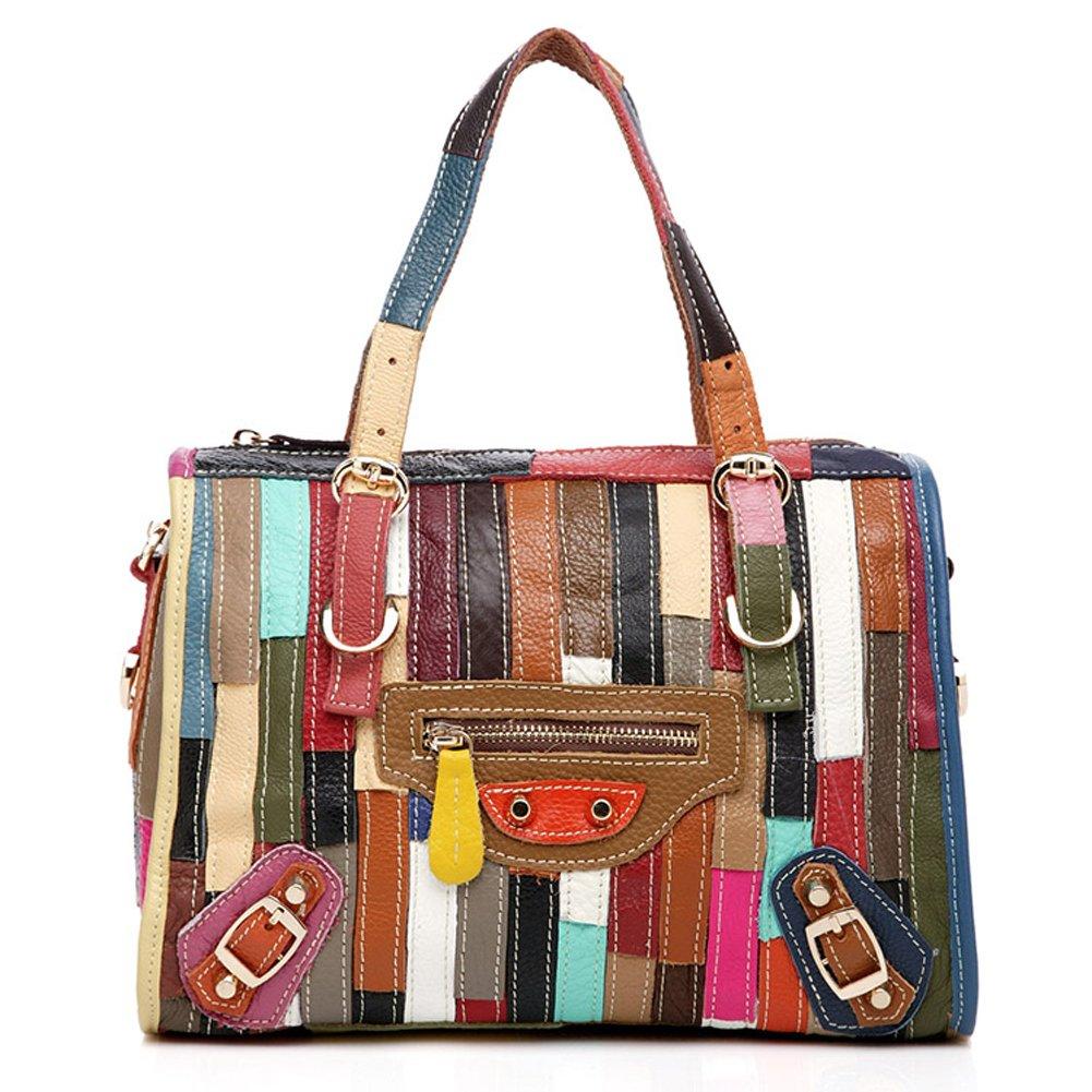 ONEWORLD New Fashion Genuine Cowhide Full Grain Leather Handbag Mixed Spliced Women Top-Handle Bag Multi