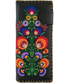 a53490e5274a Lavishy Hummingbird and Cherry Flower Embroidered Large Wallet w ...