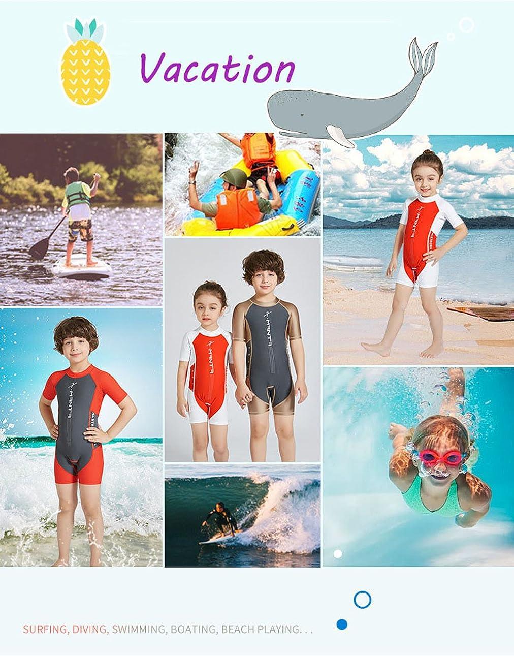 Best for All Boys Girls One Piece Rash Guard Swimsuits Kids Short Sleeve Sunsuit Swimwear UPF 50+