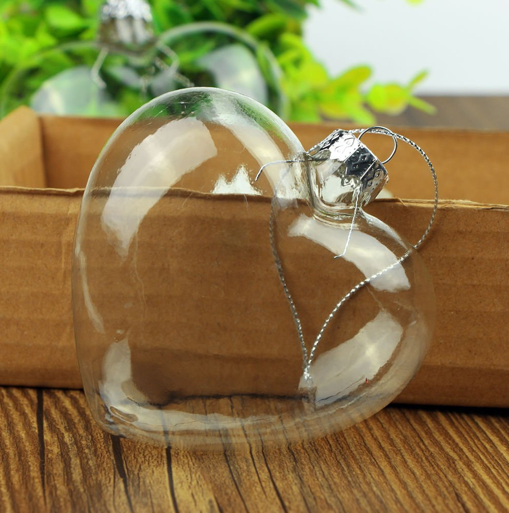 12pcs Heart Shape Clear Glass Bauble Chirstmas Wedding Hanging Ornament Good shop us