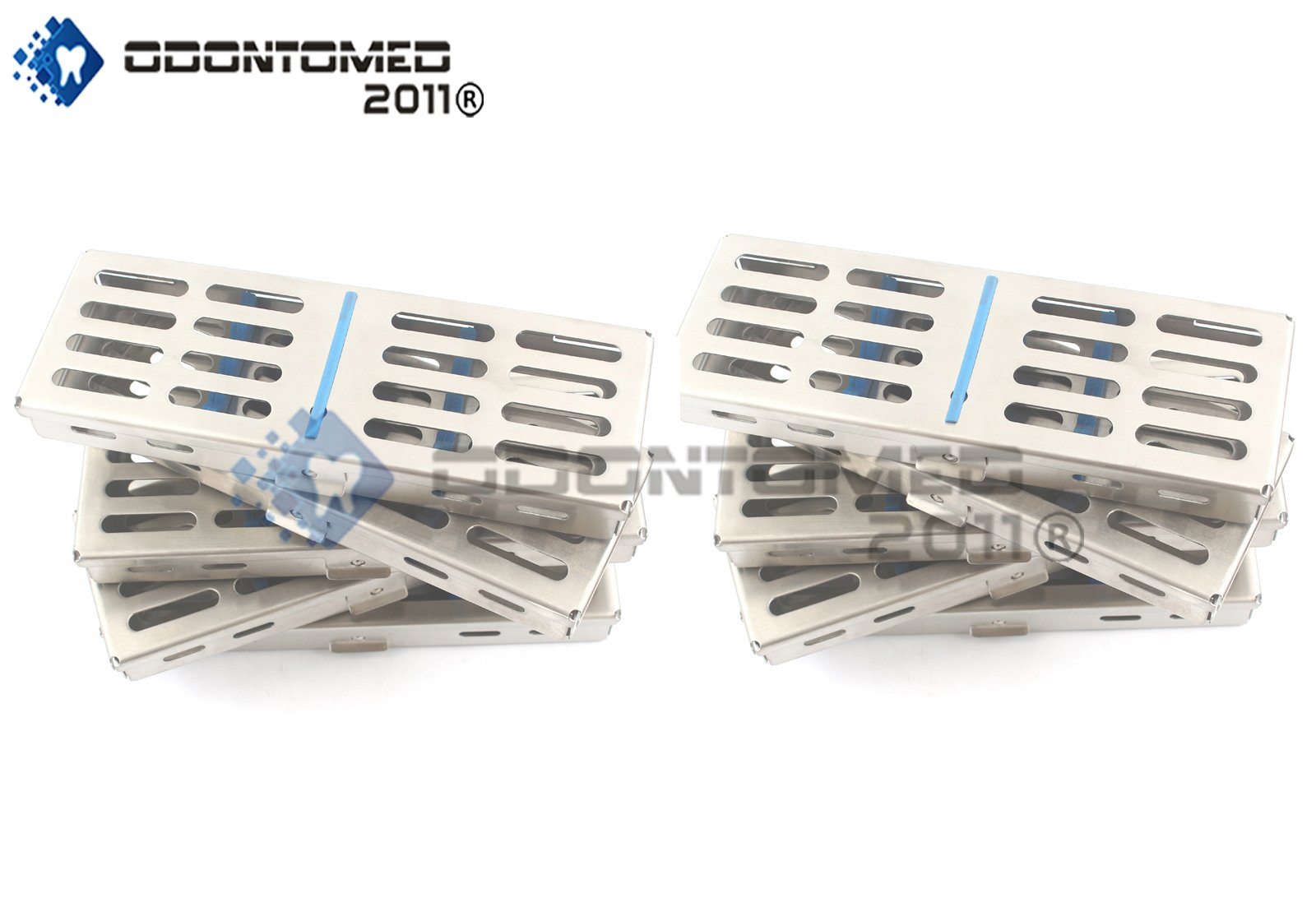 OdontoMed2011 NEW SET OF 10 EACH GERMAN GRADE DENTAL AUTOCLAVE STERILIZATION CASSETTE RACK BOX TRAY FOR 5 INSTRUMENT ODM