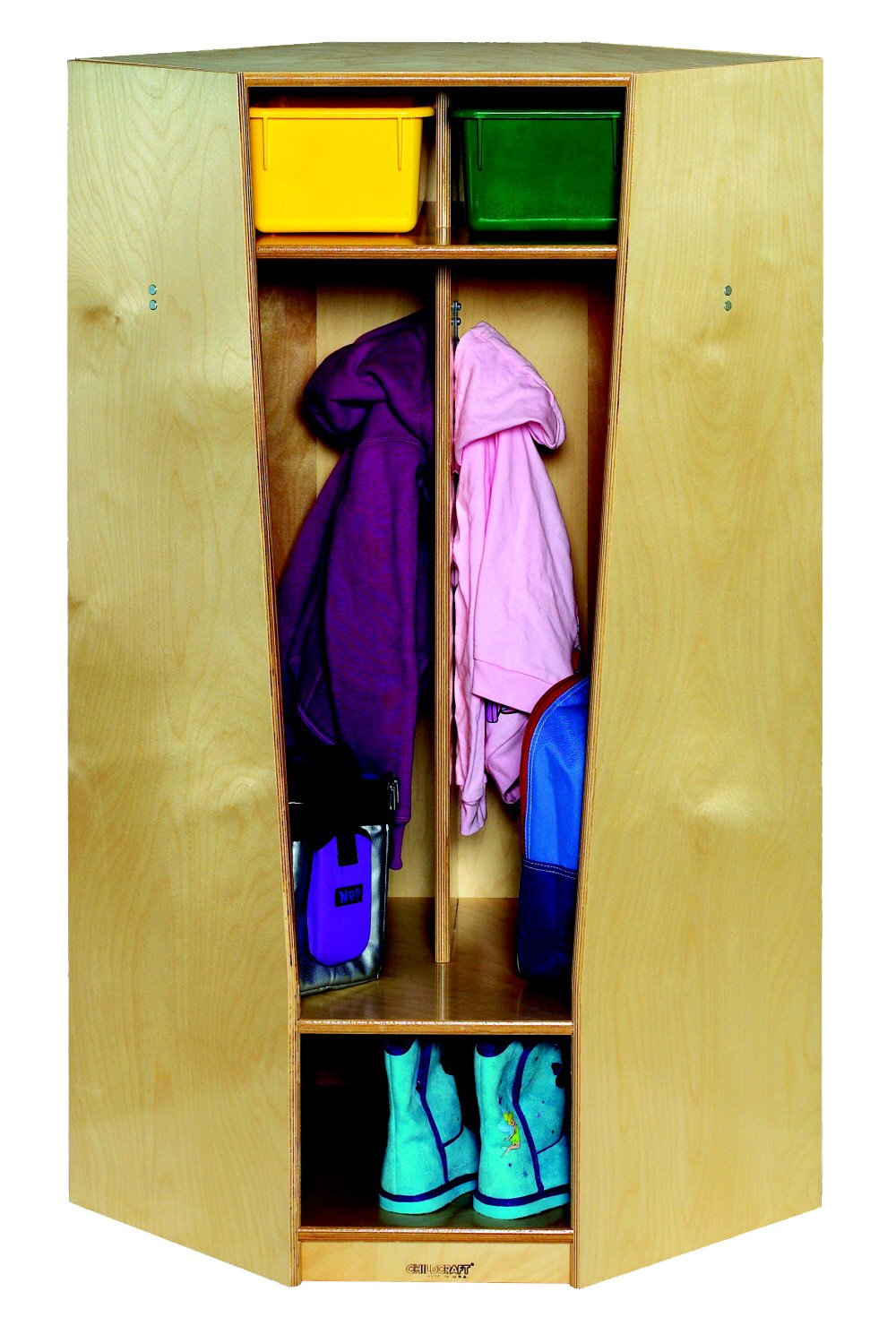 Childcraft 1357110 Corner Coat Locker, Wood, 21-1/2'' x 21-1/2'' x 48'', Natural Wood Tone