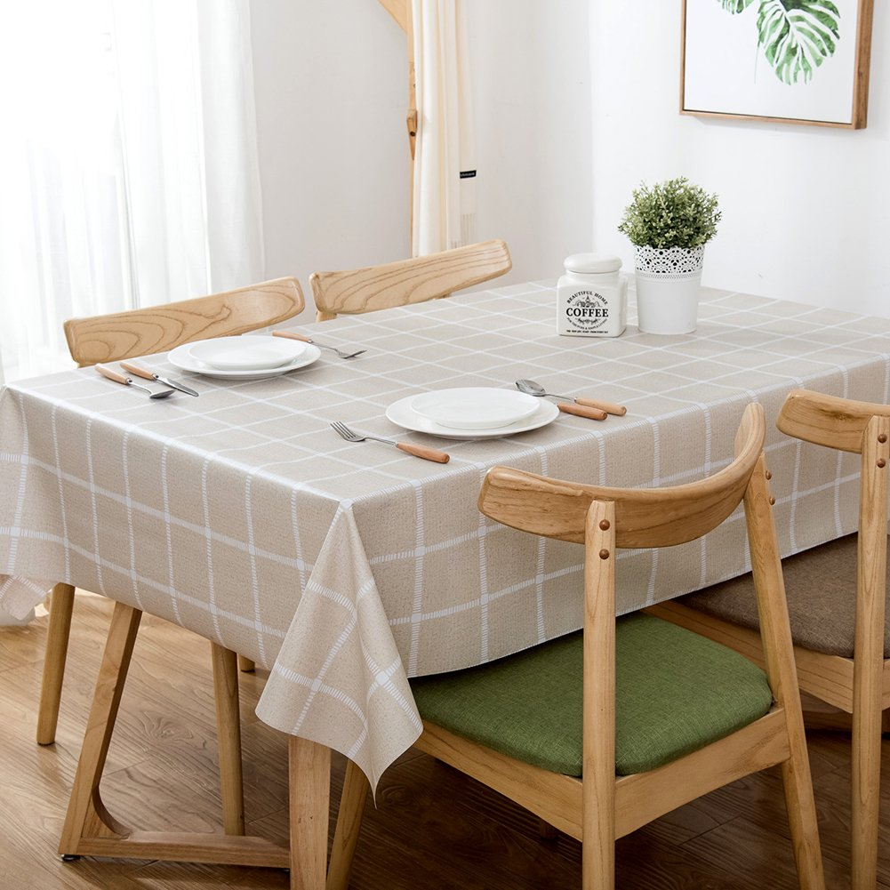 GSJJ Premium Polyester PVC Tablecloth Plain Square Line -53''X53''-XFZS-003-Wipeable-Perfect For Thanksgiving,Farmhouse Décor,Christmas Or Everyday Use, B,137185Cm(53''X72'') by GSJJ