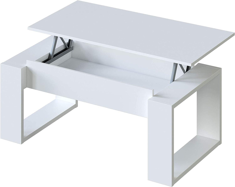 Habitdesign 001643A - Mesa de Centro Elevable, Mesita de Salon, Comedor, Modelo Nova, Acabado en Blanco Artik, Medidas: 105 cm (Largo) x 55 cm (Ancho) x 45-54 cm (Alto): Amazon.es: Juguetes y juegos