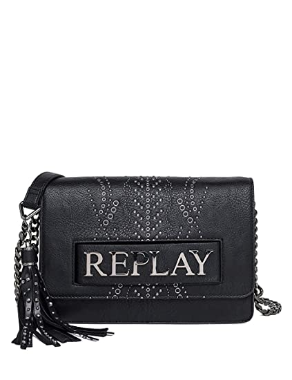 fa56c704aab4 Replay Printed Hammered Eco Leather Women s Bag Black  Amazon.co.uk   Clothing