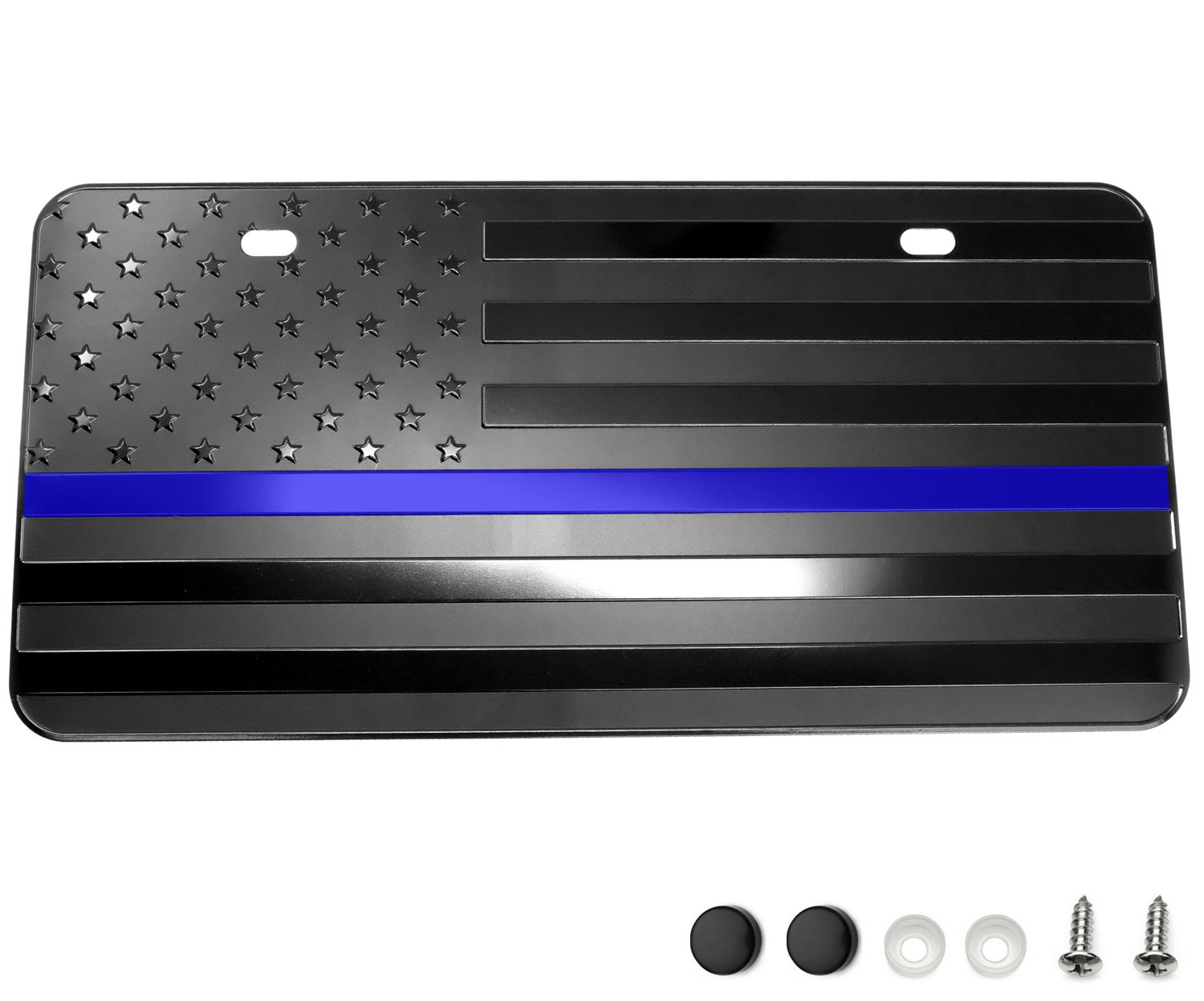 LFPartS USA American Black Flag Metal Embossed License Plate (12''x6'', Black with Thin Blue line) by LFPartS (Image #1)