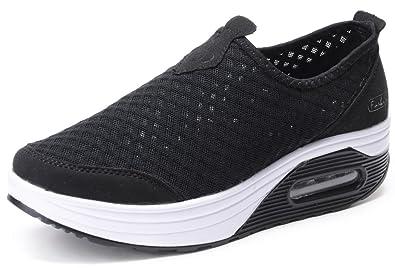 ba475f1c09 Amazon.com | Odema Womens Comfortable Platform Walking Wedges Shoes Slip  Ons Fitness Sneakers Size US5-10 | Walking