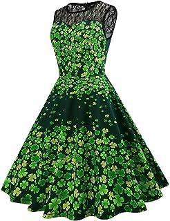 122c6327c71 Frauen Vintage Kostüm Kleid St. Patrick Day Sporadisch Grün Klee Print Swing  Kleid Schwarz Mesh