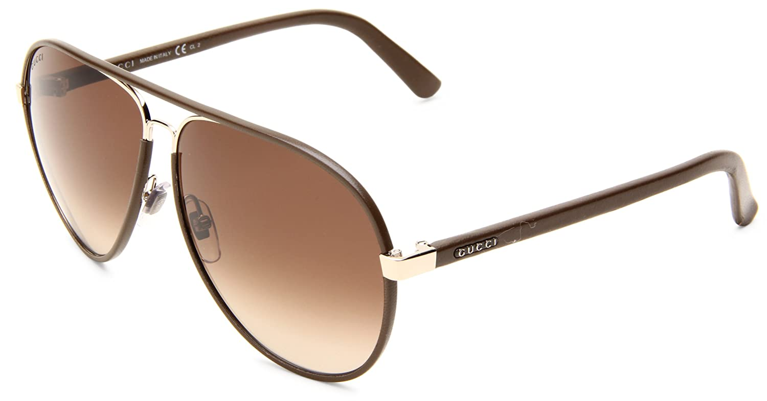 3a61e525e72c Gucci Black Leather And Gold Metal Aviator Sunglasses « One More Soul