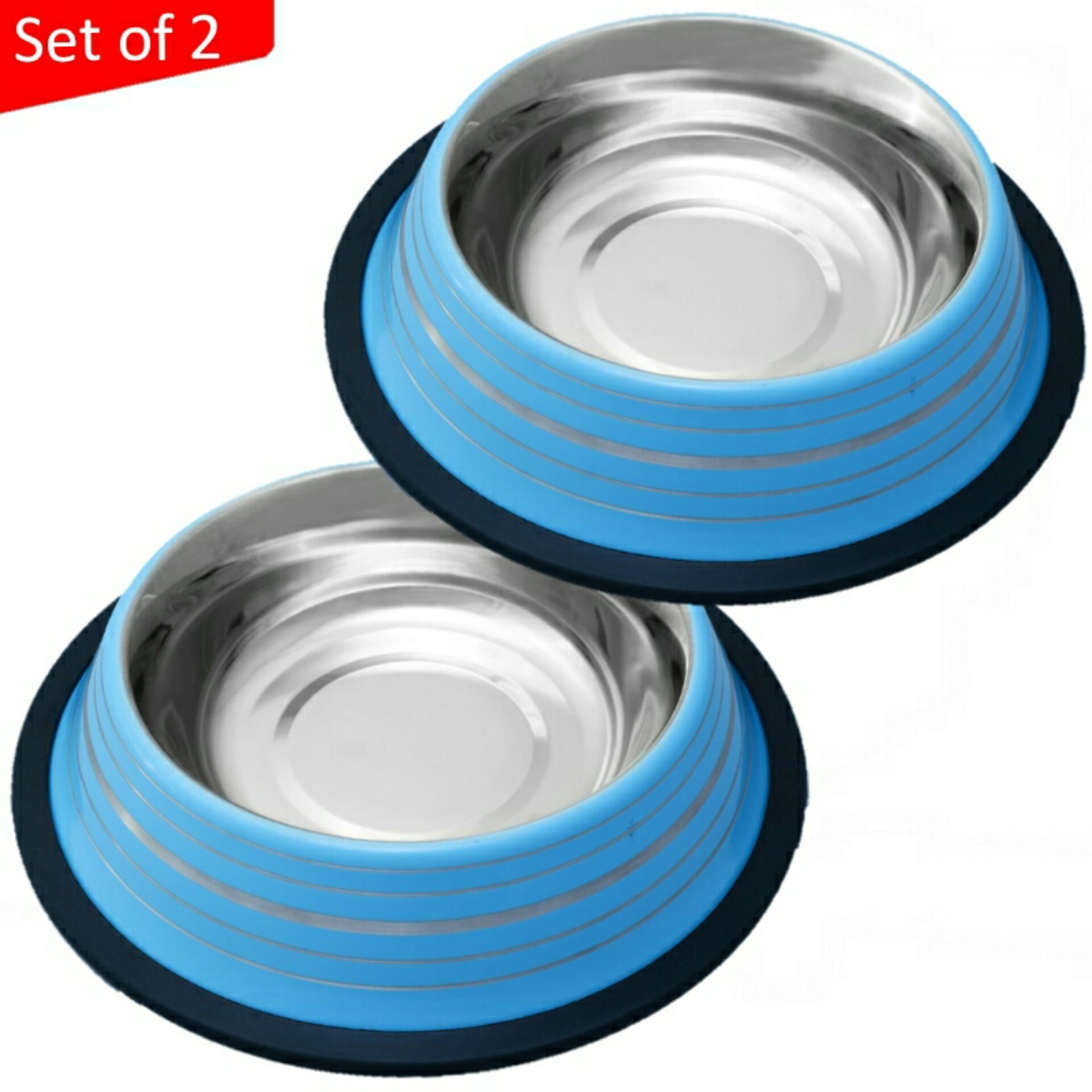 Mr. Peanut's Set of 2 48oz Blue Painted Food Grade Stainless Steel Dog Bowls ...