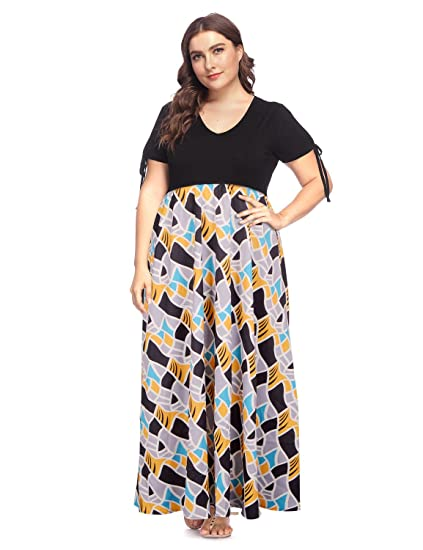 71d67371bedc1 Women s Plus Size V Neck Summer Casual Maxi Long Dress Zig Zag Striped Print  High Waist