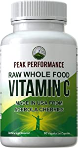 Raw Whole Food Natural Vitamin C Capsules from Acerola Cherry + 25 Organic Vegetables + Fruits for Max Absorption. Vegan USA Sourced Vitamin C Supplement 90 Pills. 500 mg Serving or 2 Servings 1000mg