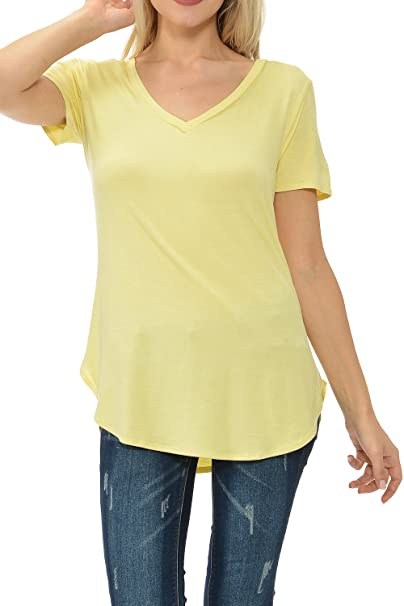 9a8f502128a Shamaim Womens Short Sleeve Modal T Shirt V Neck Tunic top Banana Small