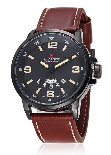 Naviforce reloj hombre deportes pulsera piel Neuf Multie función: Amazon.es: Relojes