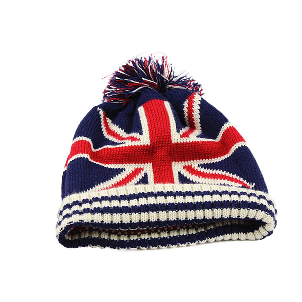 Raylans Women Men Crochet Knitted Ball Stripe Stars Winter Warm Beanie Hat Ski Cap,British Flag by Raylans (Image #1)