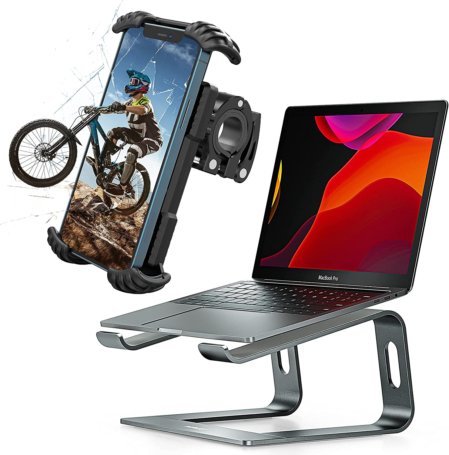 Nulaxy H18 Bike Phone Mount and C3 Laptop Stand , Bicycle Phone Holder & Adjustable Motorcycle Cell Phone Mount Clamp, Compatible with 4.7