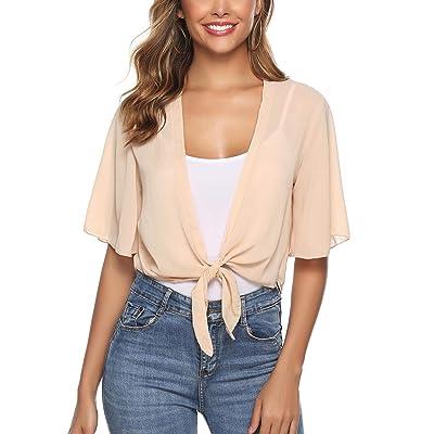 iClosam Women Half Sleeve Tie Front Chiffon Bolero Shrugs Open Front Cardigan at Women's Clothing store