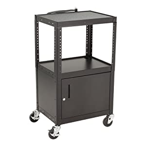 Norwood Commercial Furniture NOR-GNO1010-SO Adjustable Metal AV Cart with Locking Cabinet & Power