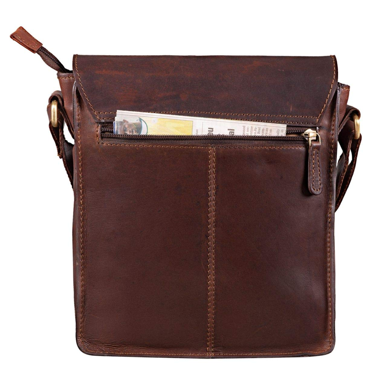 Color:Cognac marr/ón Oscuro STILORD Cliff Peque/ño Bolso Mensajero Hombre Cuero Bolso de Hombro Masculino Bolsa Tablet de iPad 9,7 Pulgadas Bolso Bandolera de Piel