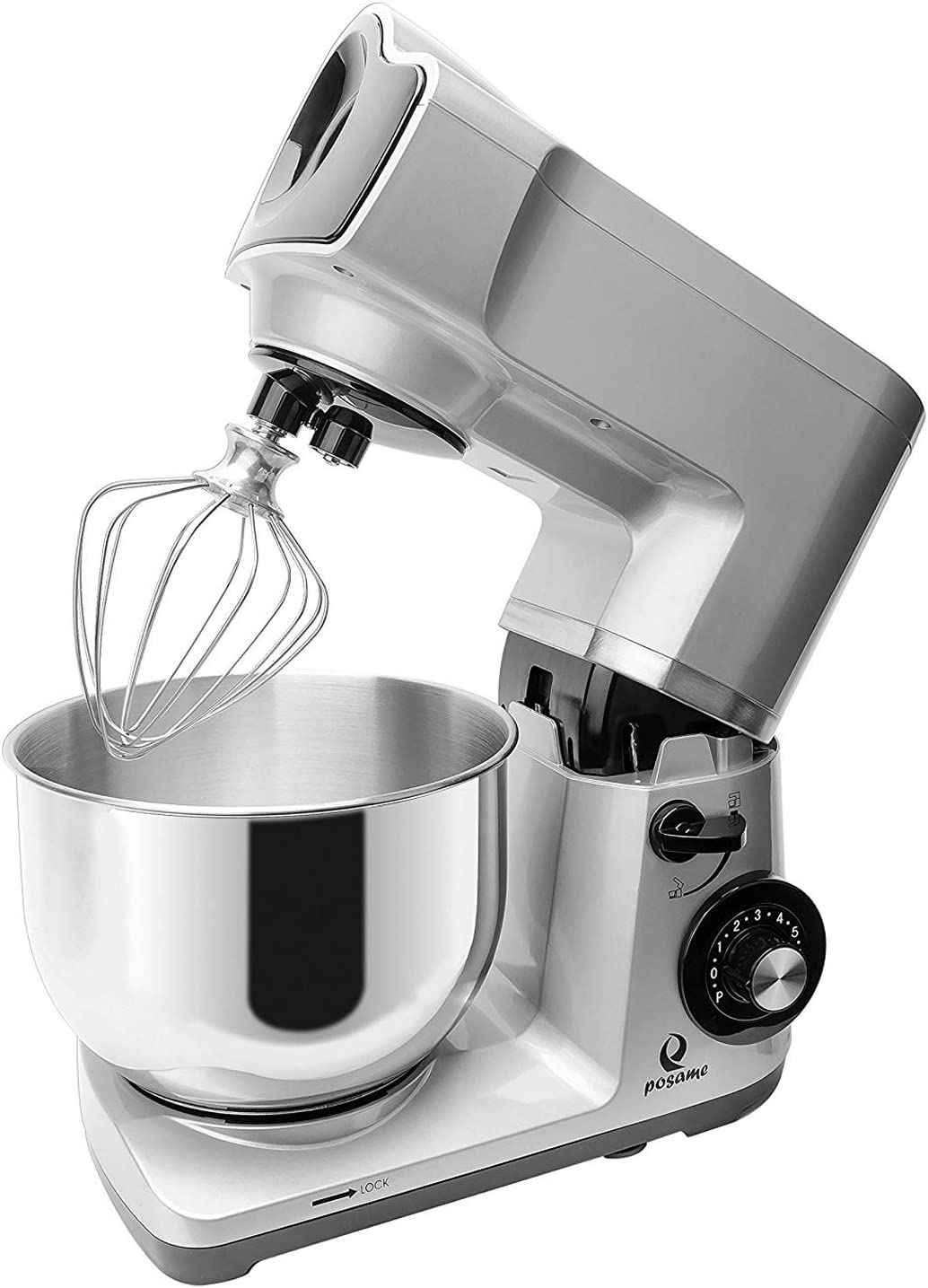 POSAME Stand Mixer 6 Speed Tilt-Head Stoving Varnish, 4.7 quart, 500W, Silver