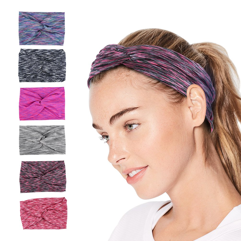 VBIGER 6 Pack Women Headband Criss Cross Head Wrap Hair Band Stretchy Headwraps Yoga Running Sports Hairband for Women (Set 1 (6 Pack))